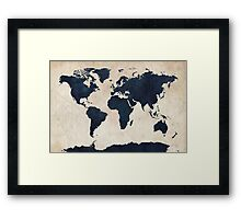 World Map Distressed Navy Framed Print