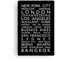 World Cities Bus Roll Canvas Print
