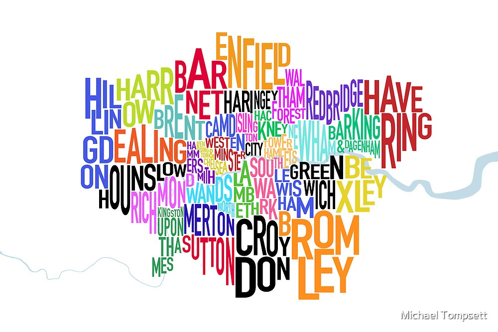 London UK Text Map by Michael Tompsett