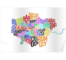 London UK Text Map Poster
