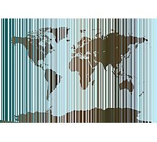 World Map Abstract Barcode Photographic Print