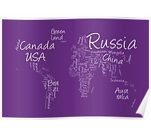 Writing Text Map of the World Map Poster