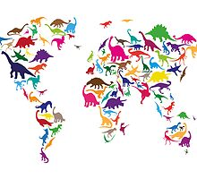 Dinosaur Map of the World Map by Michael Tompsett