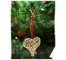 Golden heart ornament hanging Poster
