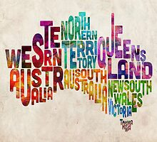 Australia Typographic Text Map by ArtPrints