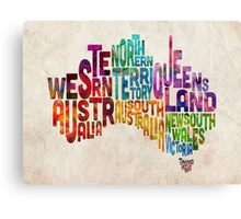 Australia Typographic Text Map Canvas Print
