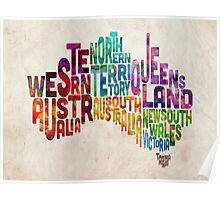 Australia Typographic Text Map Poster