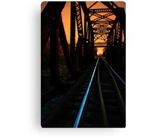 Sunset on the trestle  Canvas Print