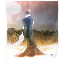 Standing figure in blue cloak Poster
