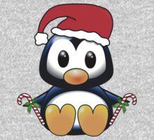 Cute Cartoon Christmas Penguin One Piece - Short Sleeve