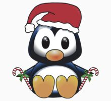 Cute Cartoon Christmas Penguin One Piece - Short Sleeve