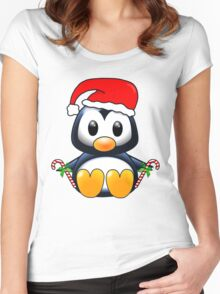 Cute Cartoon Christmas Penguin Women's Fitted Scoop T-Shirt