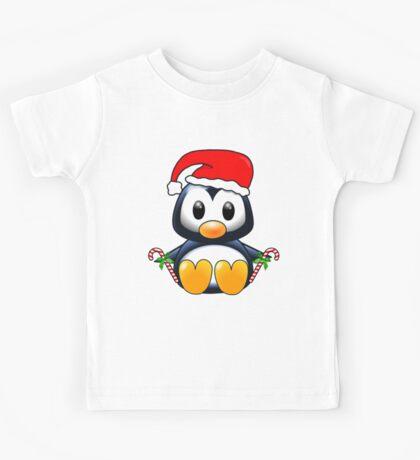 Cute Cartoon Christmas Penguin Kids Tee
