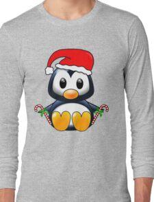 Cute Cartoon Christmas Penguin Long Sleeve T-Shirt