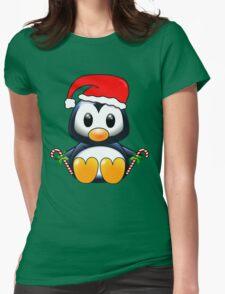 Cute Cartoon Christmas Penguin Womens Fitted T-Shirt