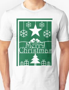 Christmas Tree and Robins Green and White Paper Cut Art Design T-Shirt