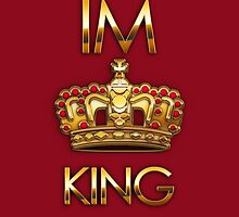Royal king crown on red background by mikath