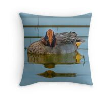 Reflections of a Sleeping Eurasian Teal   Throw Pillow