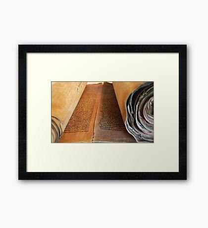 Ancient handwritten Torah scrolls from Yemen  Framed Print