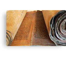 Ancient handwritten Torah scrolls from Yemen  Canvas Print