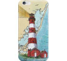 Assateague Lighthouse VA Nautical Chart Cathy Peek iPhone Case/Skin