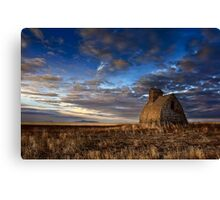 Grain Shed Looking At Sweet Grass Hills Canvas Print
