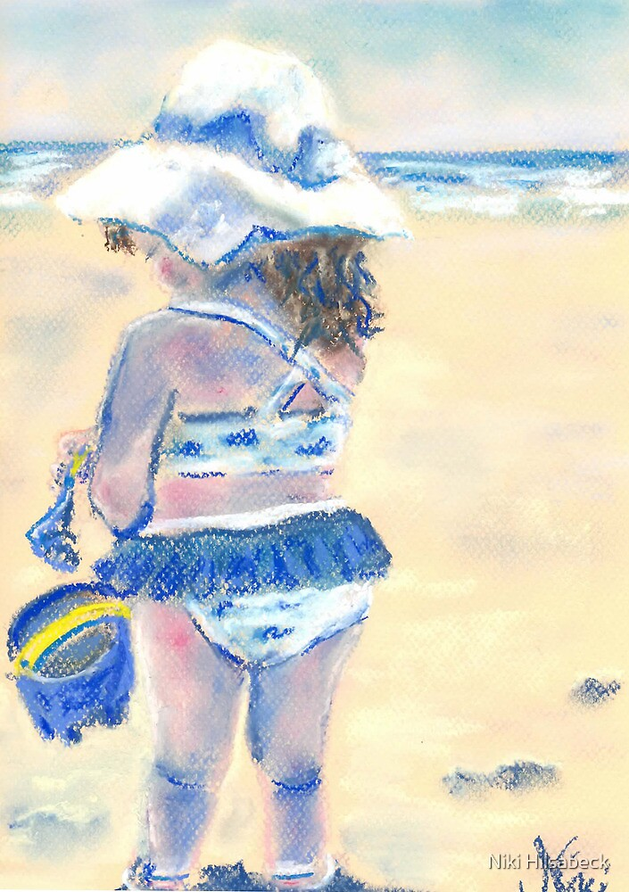 Little Chunky Thighs on the Beach (Pastel) by Niki Hilsabeck