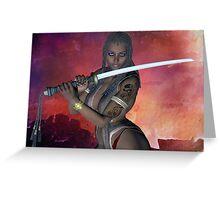 Samurai Warrior sword girl Greeting Card