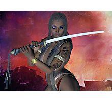 Samurai Warrior sword girl Photographic Print