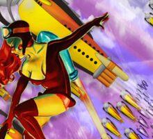 space ship invasion zapgun jetgirl Sticker