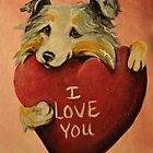 Australian Shepherd~I love You~Valentine by shinerdog
