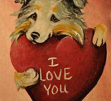 Australian Shepherd~I love You~Valentine by shinerdog