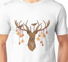 close-up view of deer head with horns, birds and christmas decorations Unisex T-Shirt