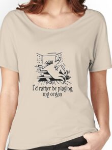 Funny cartoon of organist Women's Relaxed Fit T-Shirt
