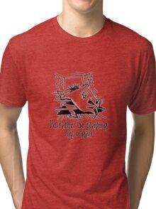 Funny cartoon of organist Tri-blend T-Shirt