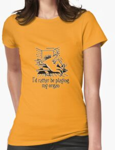 Funny cartoon of organist Womens Fitted T-Shirt