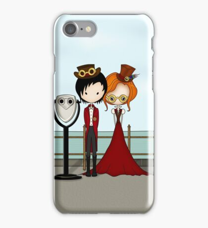 Steampunk Promenade Cartoon Illustration iPhone Case/Skin