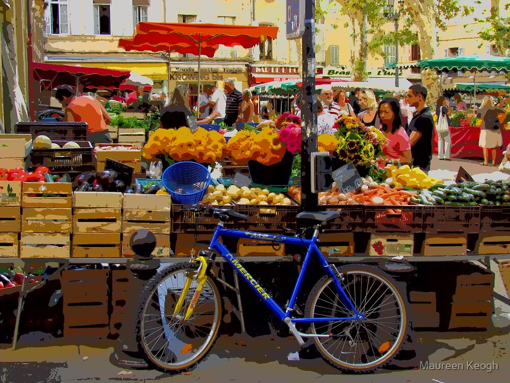 Aix-en-Provence - Market stall with bike by Maureen Keogh