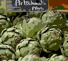 Dordogne - Artichokes in the market by Maureen Keogh