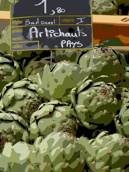 Dordogne - Artichokes in the market by Maureen Keogh