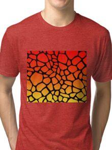Flame Giraffe Pattern Tri-blend T-Shirt