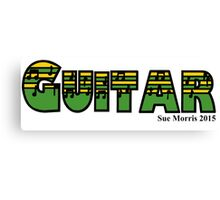 Guitar Green & Yellow Canvas Print