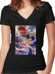 Pleiades above Women's Fitted V-Neck T-Shirt