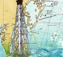 Cape Charles VA Lighthouse Nautical Map Cathy Peek by Cathy Peek