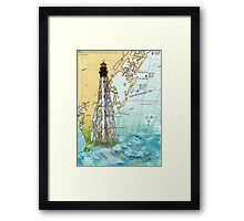 Cape Charles VA Lighthouse Nautical Map Cathy Peek Framed Print