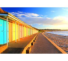 beach huts at dawn Photographic Print
