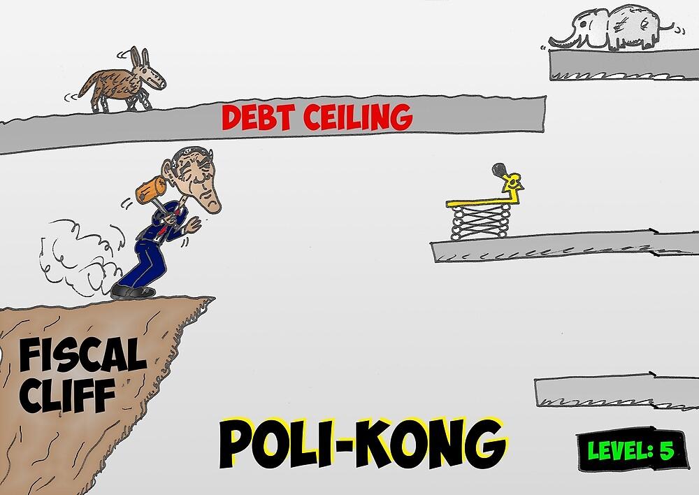 Poli-Kong economics President Obama caricature by Binary-Options