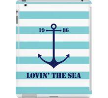 Blue anchor on navy stripes marine style iPad Case/Skin