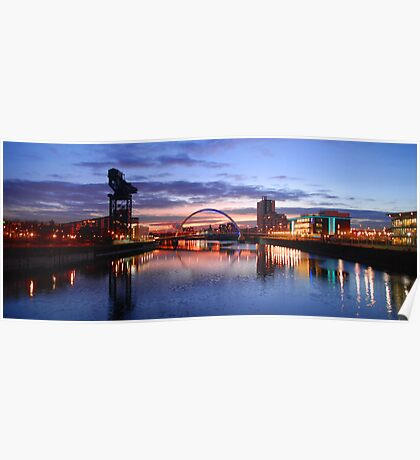 Glasgow Arc bridge at night Poster