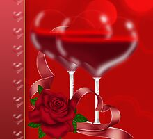 Valentine's Day Card With Heart Shaped Red Wine Glasses by Moonlake